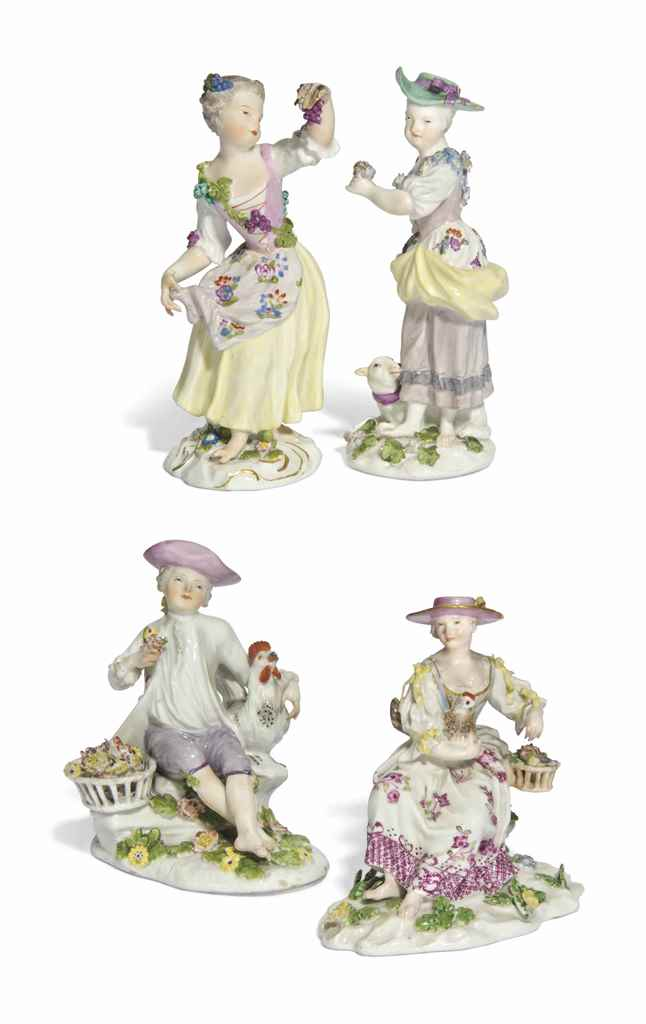 FOUR MEISSEN FIGURES OF FARM G