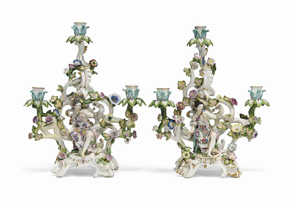 TWO MEISSEN FIGURAL THREE-LIGH