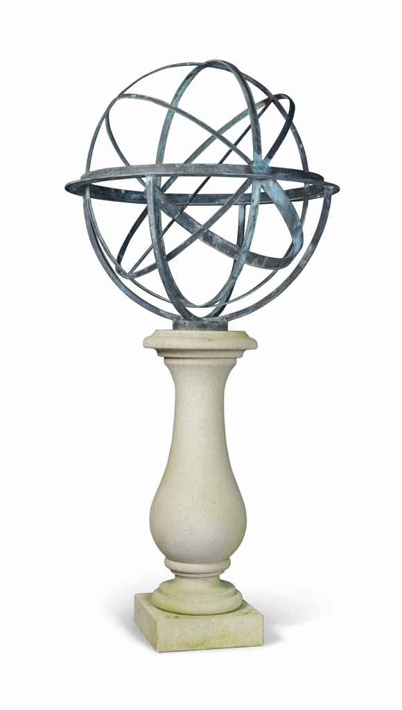 A BRONZE ARMILLARY SPHERE ON A