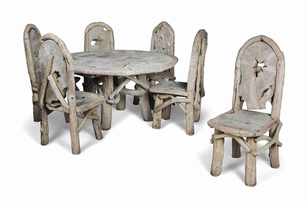 A GARDEN TABLE AND SIX CHAIRS