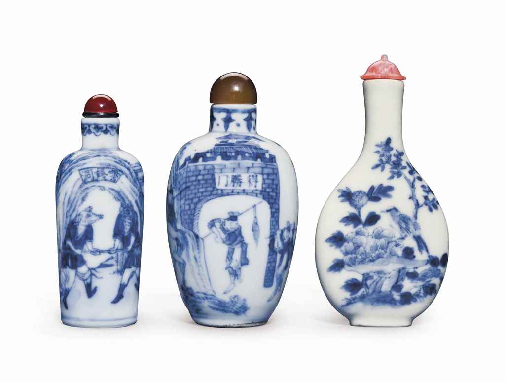 THREE BLUE AND WHITE PORCELAIN