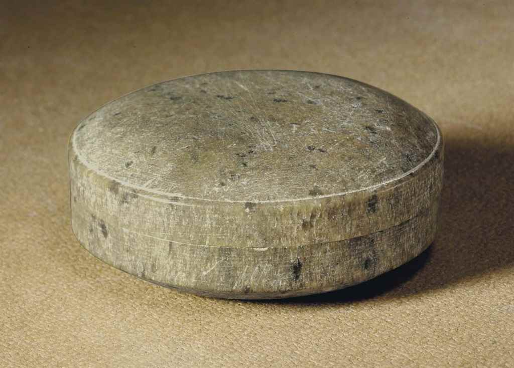 A STEATITE CIRCULAR PASTE BOX