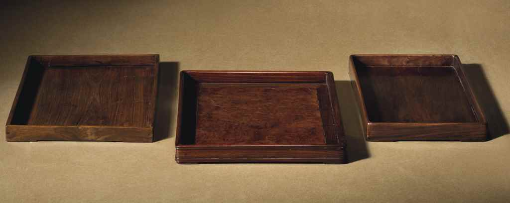 THREE HONGMU TRAYS