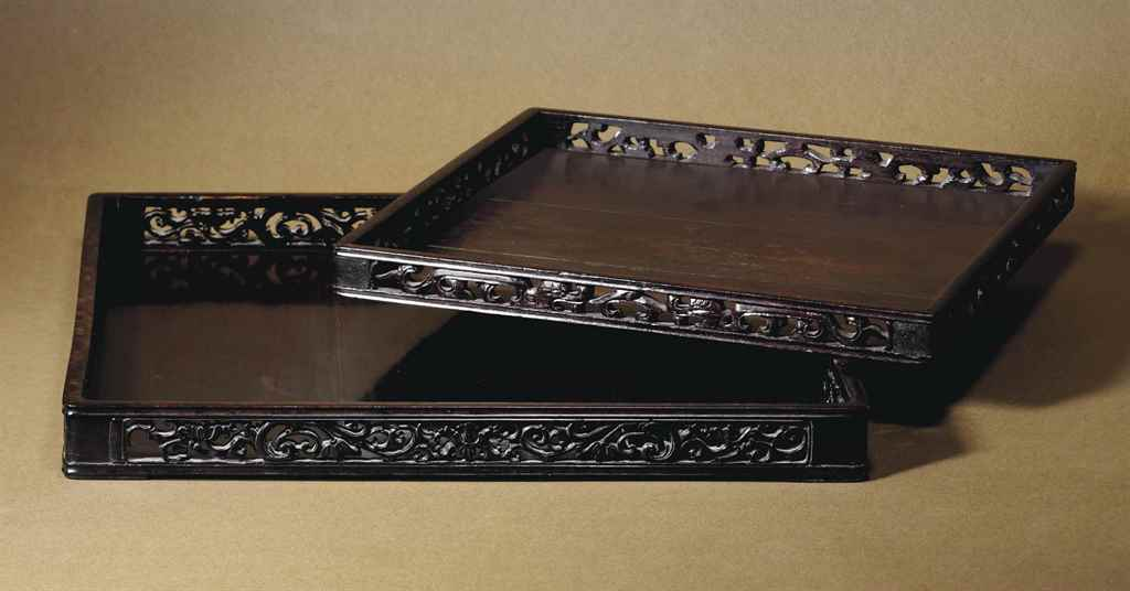 TWO ZITAN SQUARE TRAYS