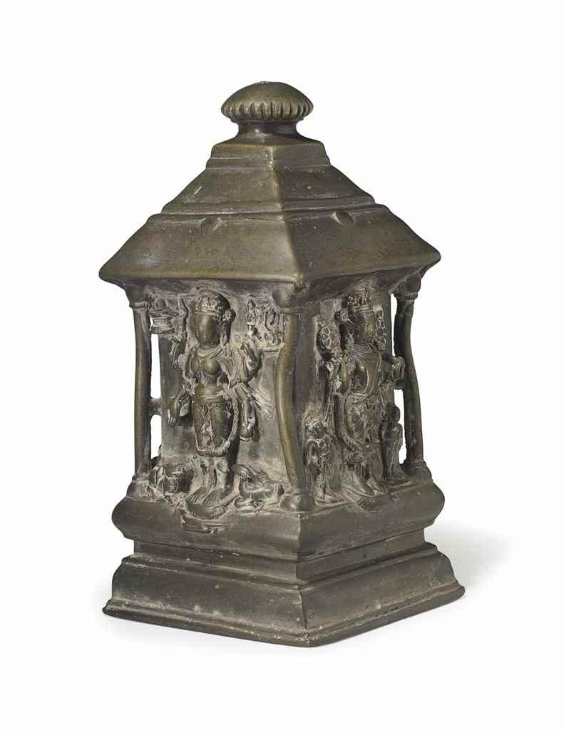A bronze shrine with Shiva, Pa