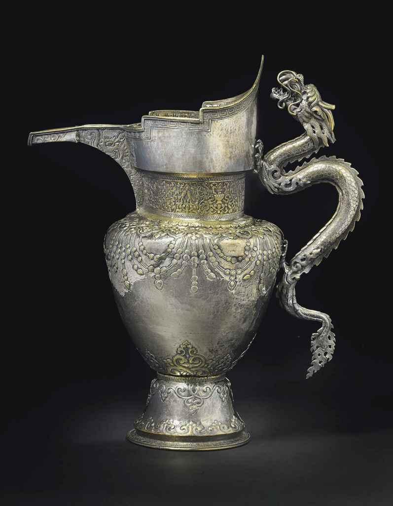 """A parcel-gilt silver """"monk's c"""