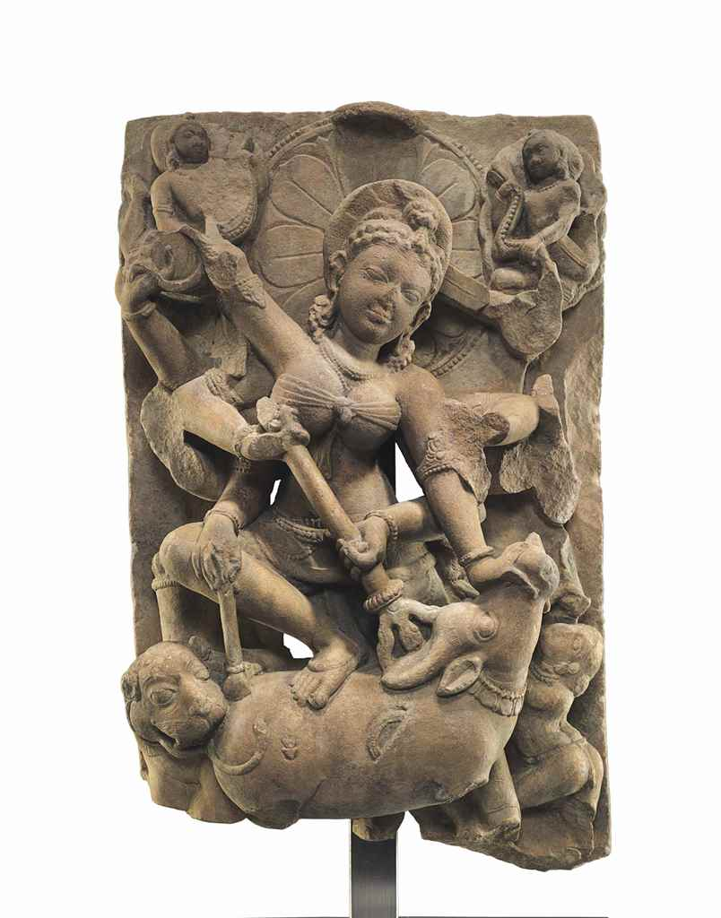 A sandstone relief of Durga Ma