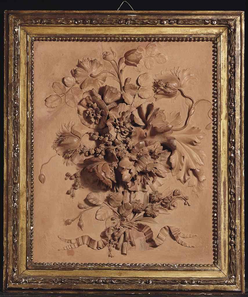 bas relief en terre cuite representant un bouquet de. Black Bedroom Furniture Sets. Home Design Ideas