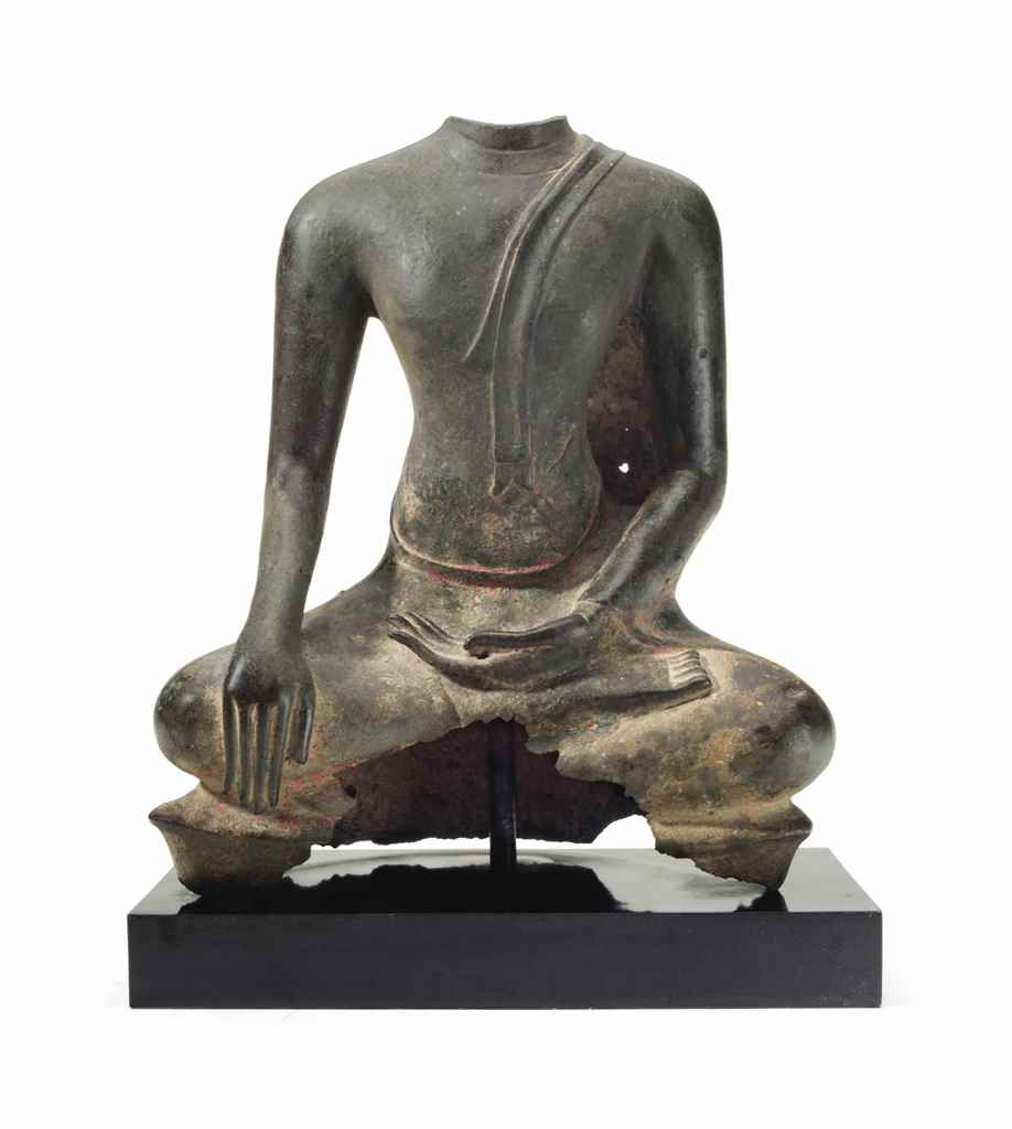 A THAI BRONZE FIGURE OF A SEAT