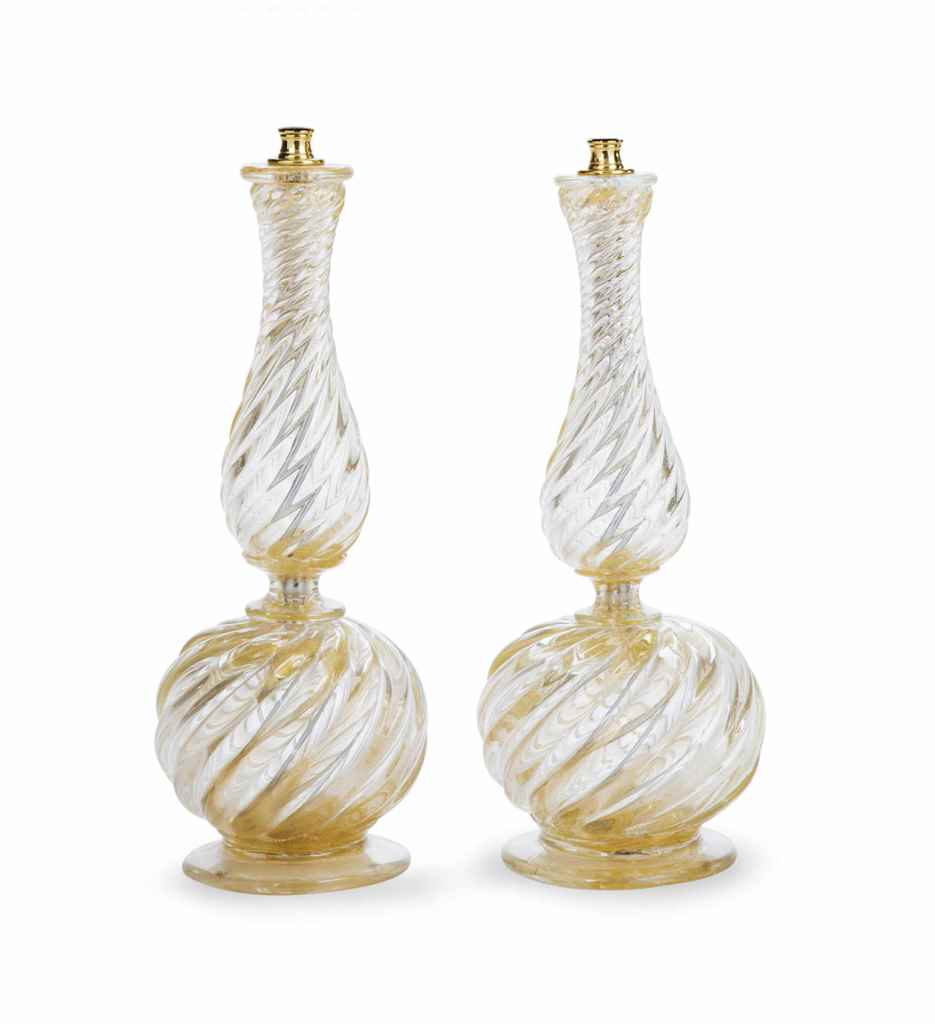 A PAIR OF ITALIAN GOLD-FLECKED