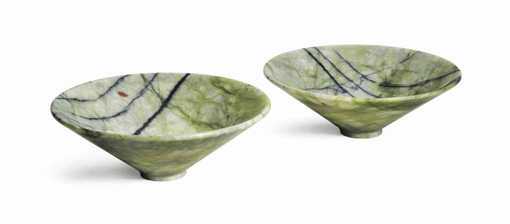 A PAIR OF POLISHED GREEN SERPE