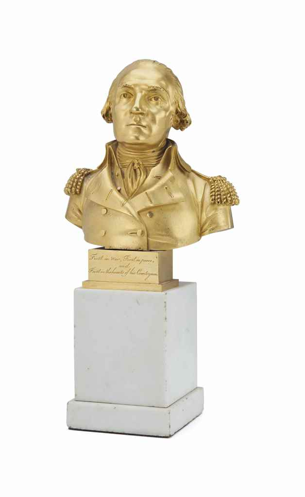 A FRENCH ORMOLU BUST OF GEORGE