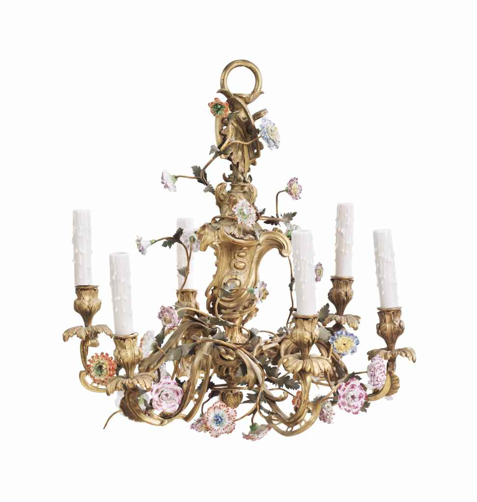 A LOUIS XV STYLE ORMOLU AND PO