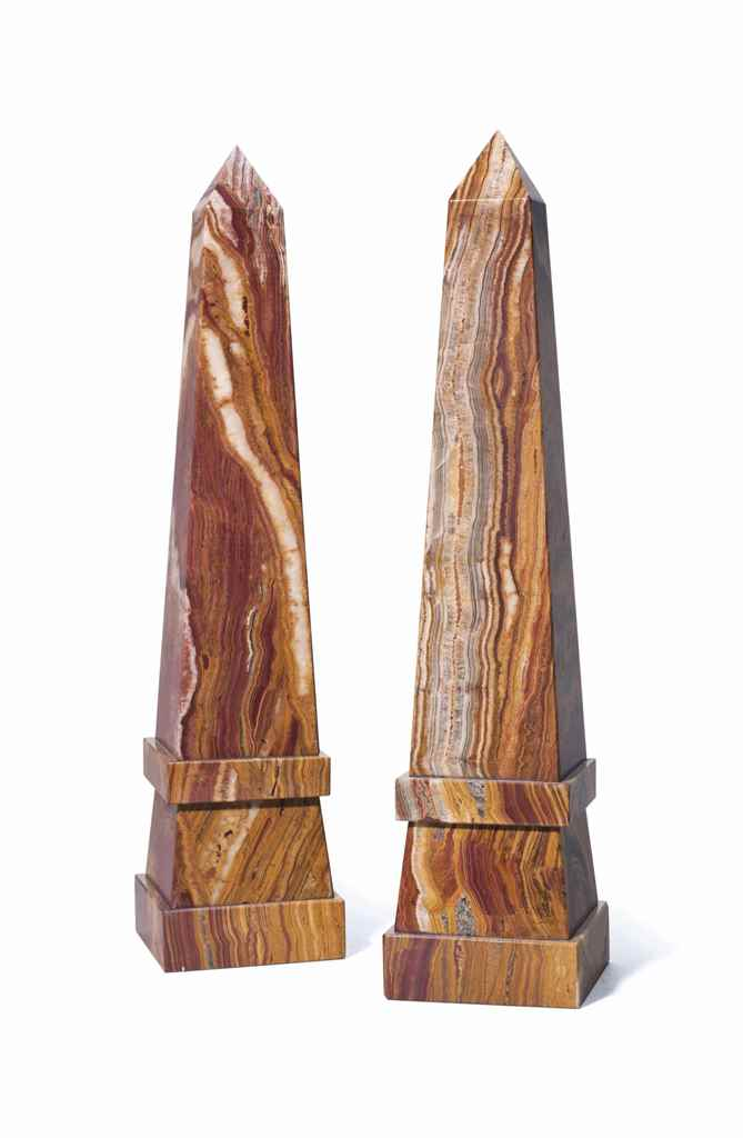 A PAIR OF STONE OBELISKS