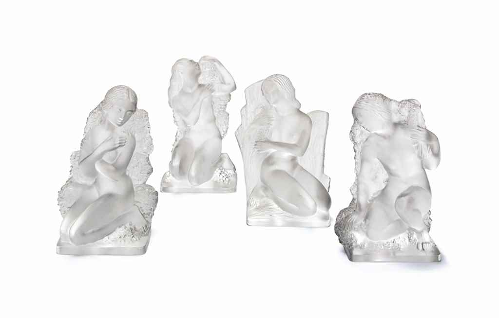 FOUR FRENCH FROSTED GLASS FIGU