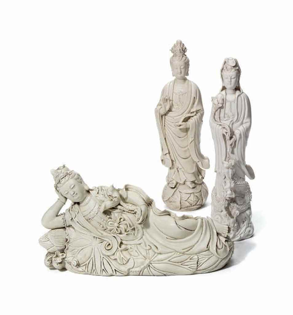 THREE CHINESE DEHUA FIGURES OF