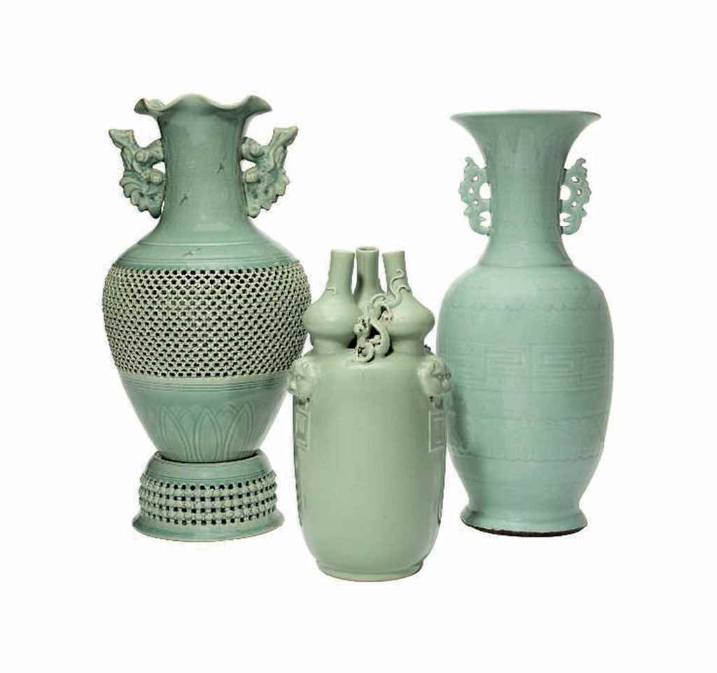 TWO CHINESE CELADON GROUND POR