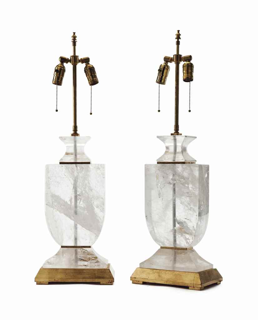 A PAIR OF ROCK CRYSTAL AND PAR