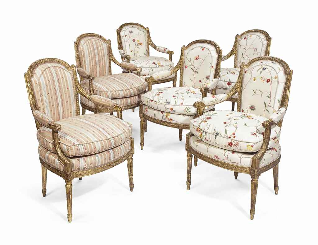 A SET OF SIX LOUIS XVI GILTWOO