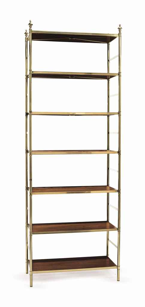A BRASS AND MAHOGANY BOOKSHELF