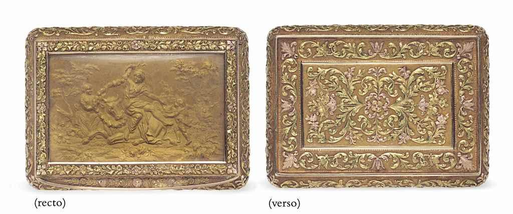 A SWISS VARI-COLORED GOLD BOX