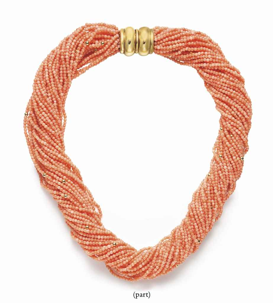 TWO CORAL BEAD NECKLACES