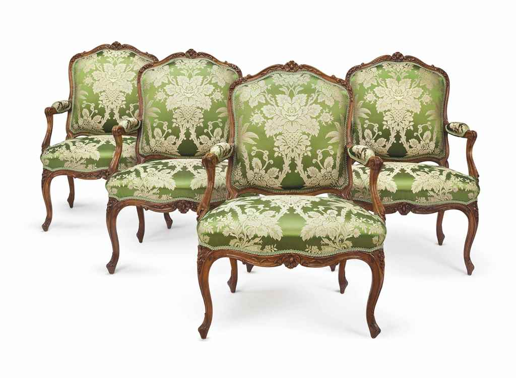 A SET OF FOUR LOUIS XV WALNUT