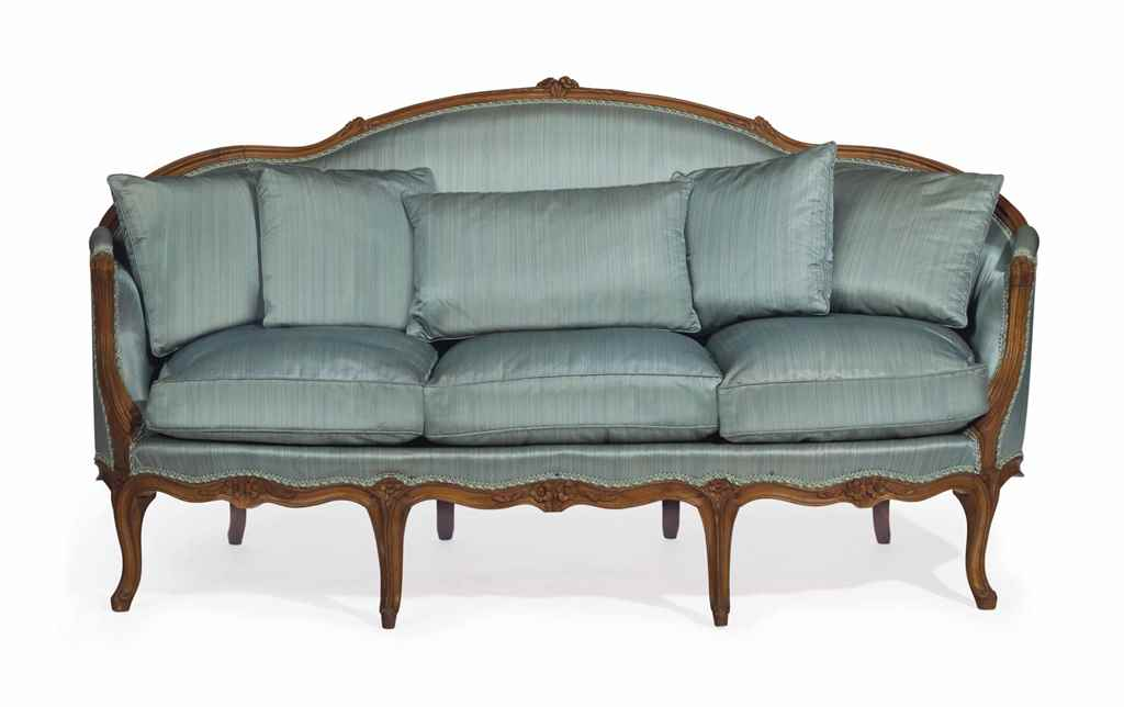 A LOUIS XV BEECHWOOD CANAPE