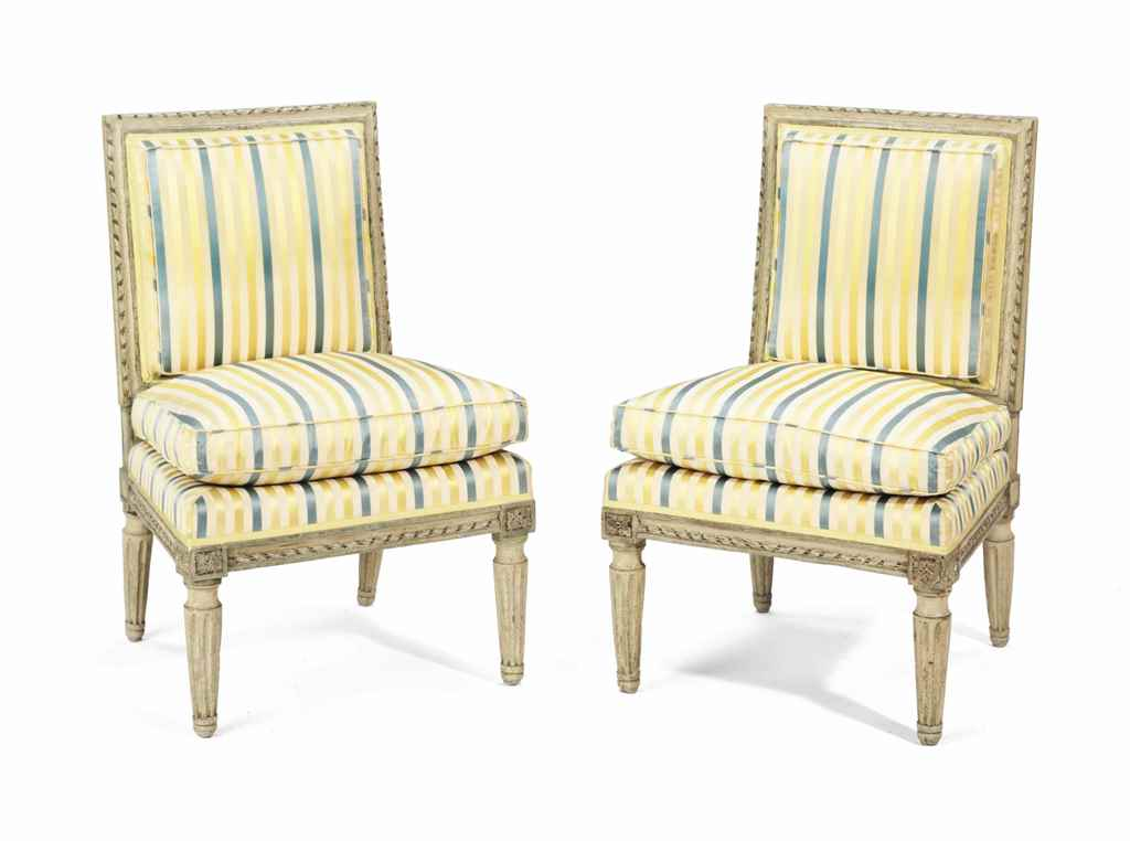 A pair of louis xvi cream painted chaises late 18th for Chaises louis xvi occasion