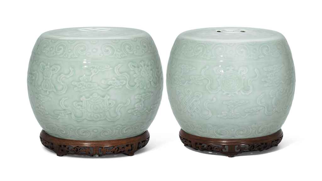 A PAIR OF CARVED CELADON-GLAZE