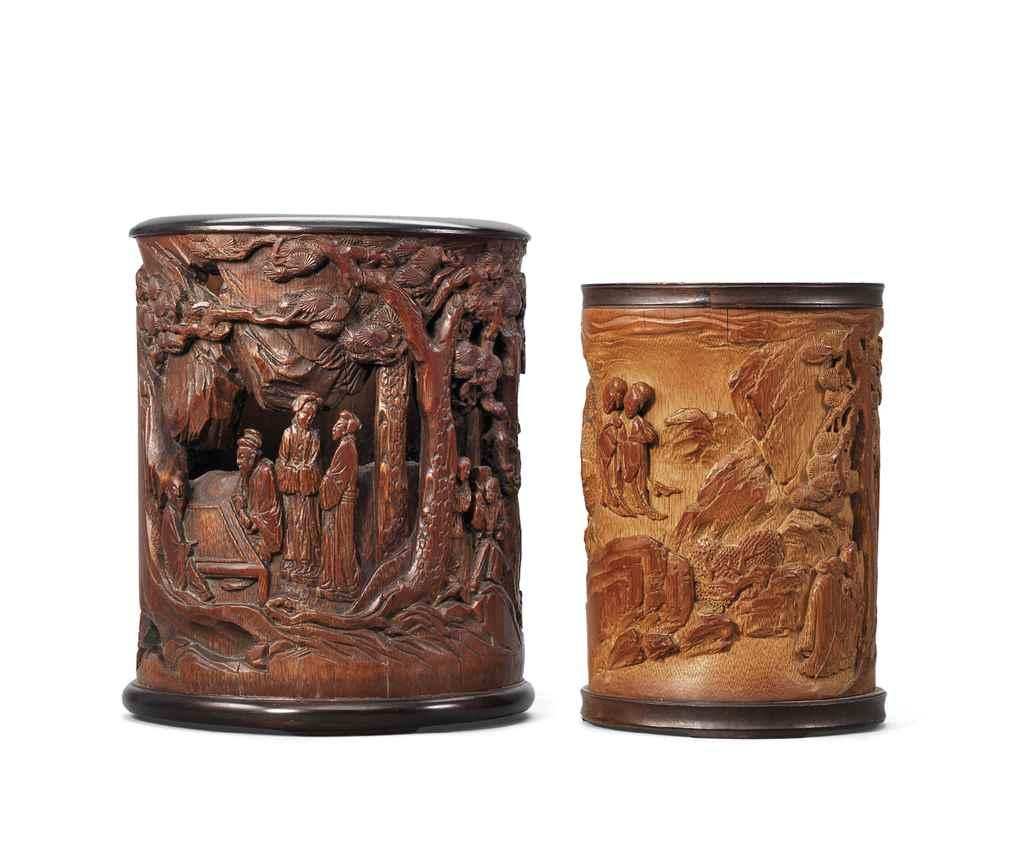 TWO BAMBOO BRUSH POTS