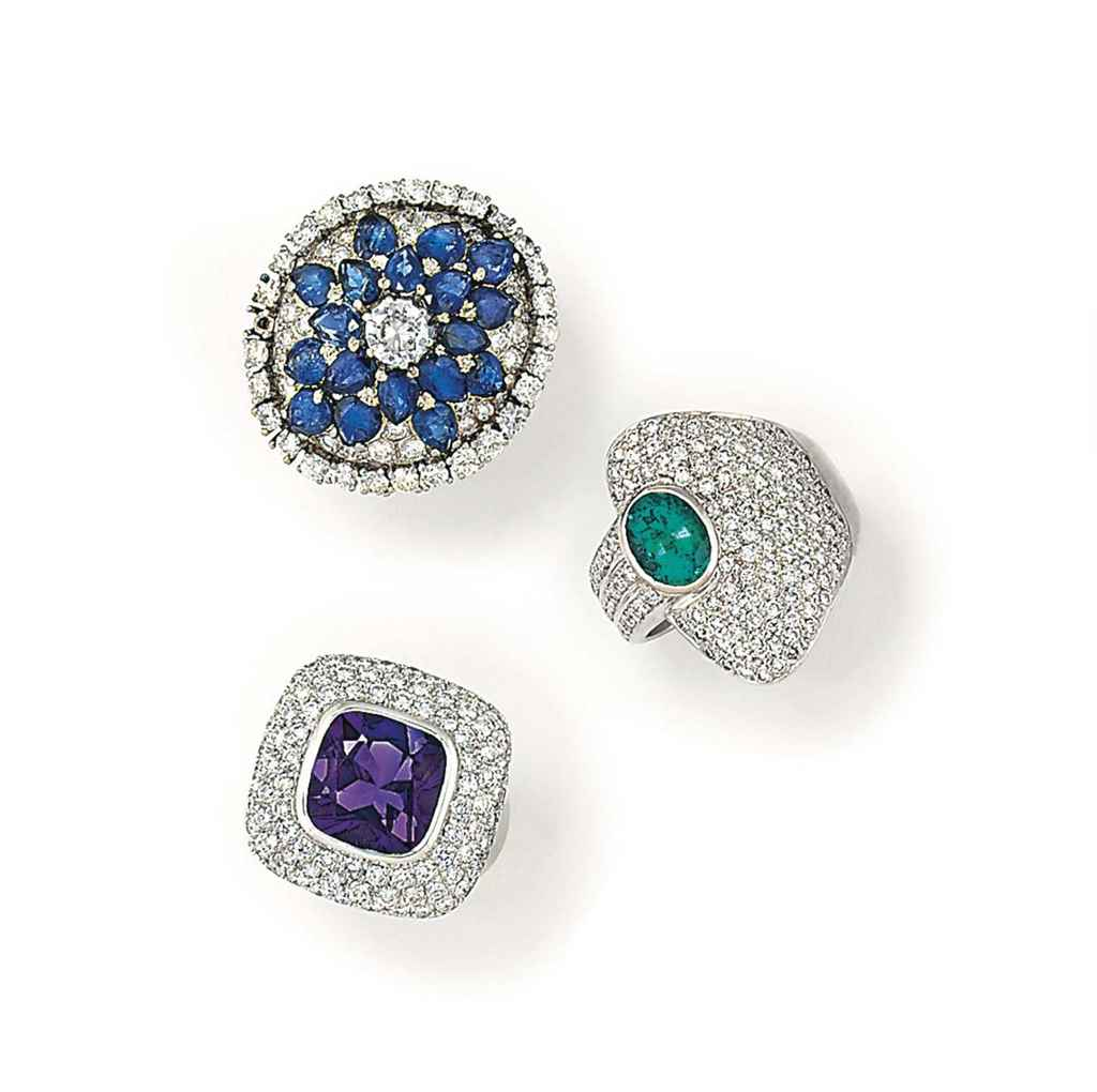 THREE GEM-SET DRESS RINGS, ONE