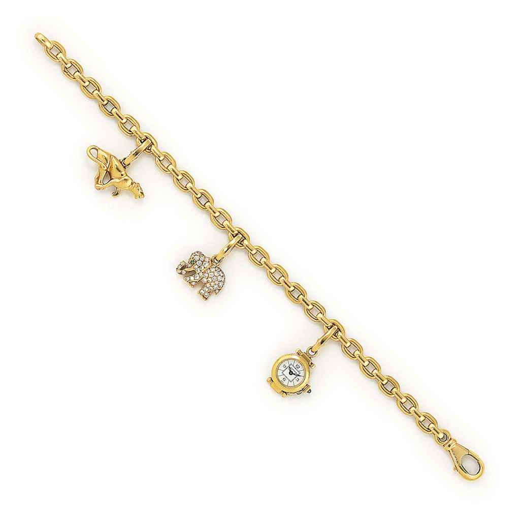 A DIAMOND-SET CHARM BRACELET,