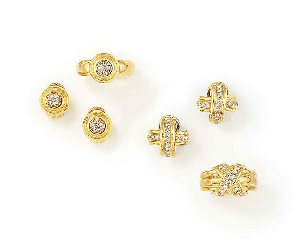 TWO SETS OF DIAMOND-SET EARRIN