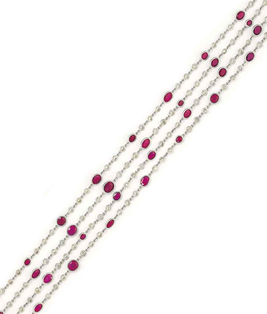 A RUBY AND DIAMOND LONGCHAIN
