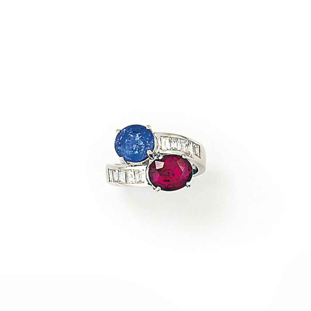 A RUBY AND SAPPHIRE TWO-STONE