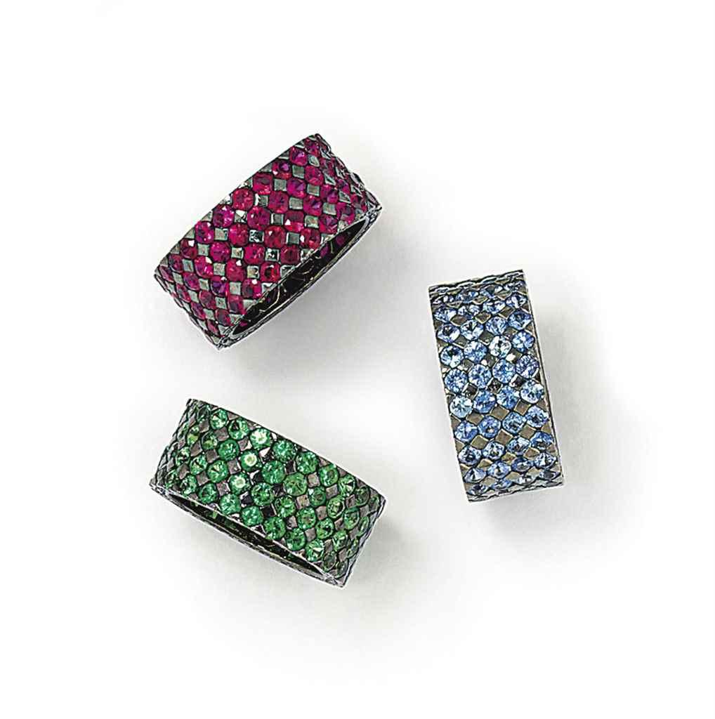 THREE GEM AND DIAMOND RINGS
