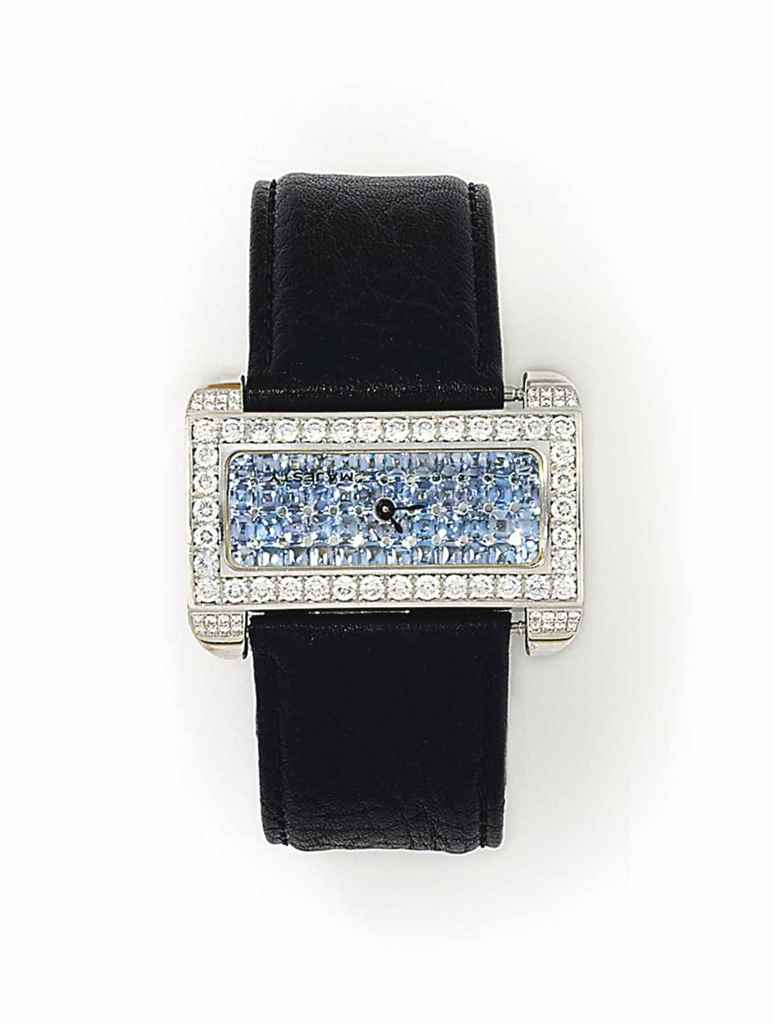 A GEM-SET QUARTZ WRISTWATCH, B