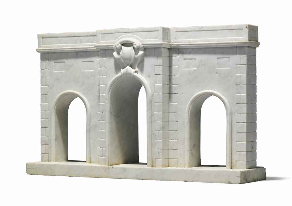 A CONTINENTAL WHITE-MARBLE ARC
