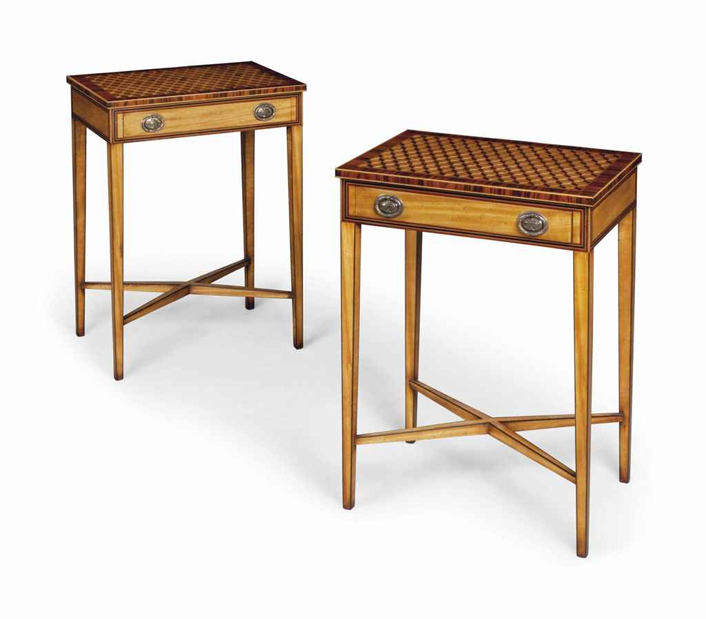 A PAIR OF SATINWOOD AND SANTOS