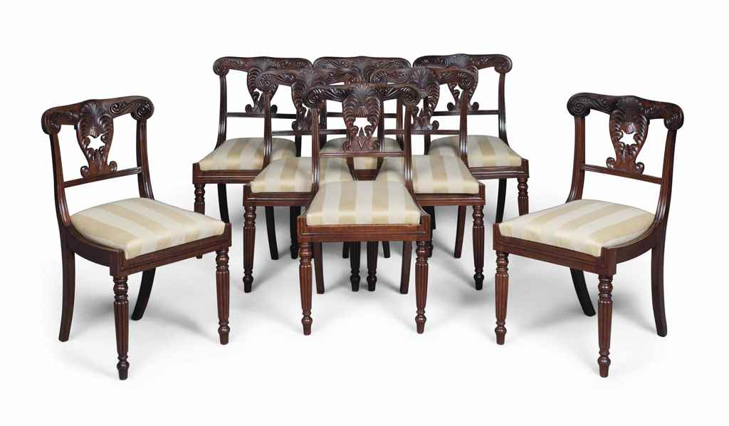 A SET OF EIGHT REGENCY ROSEWOO