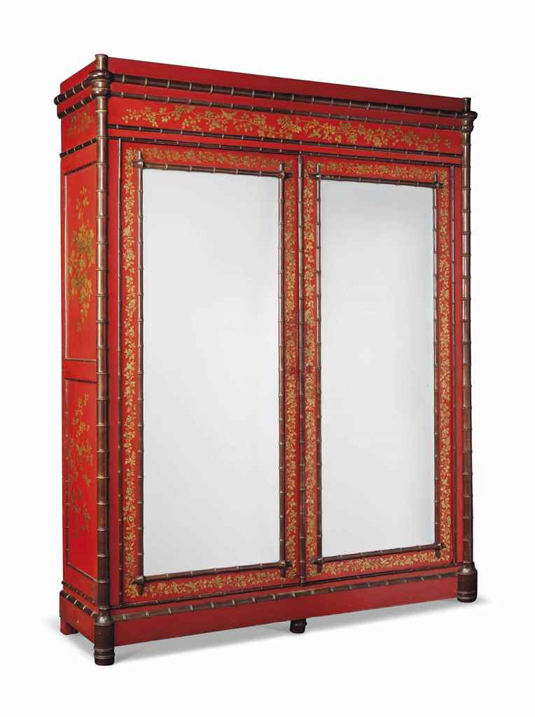 A LARGE FRENCH CHINOISERIE RED