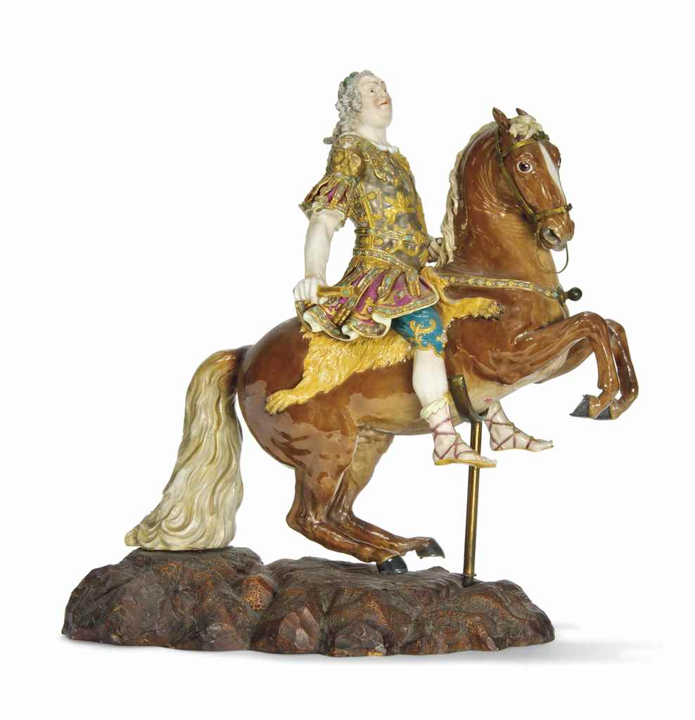 A MEISSEN EQUESTRIAN FIGURE OF