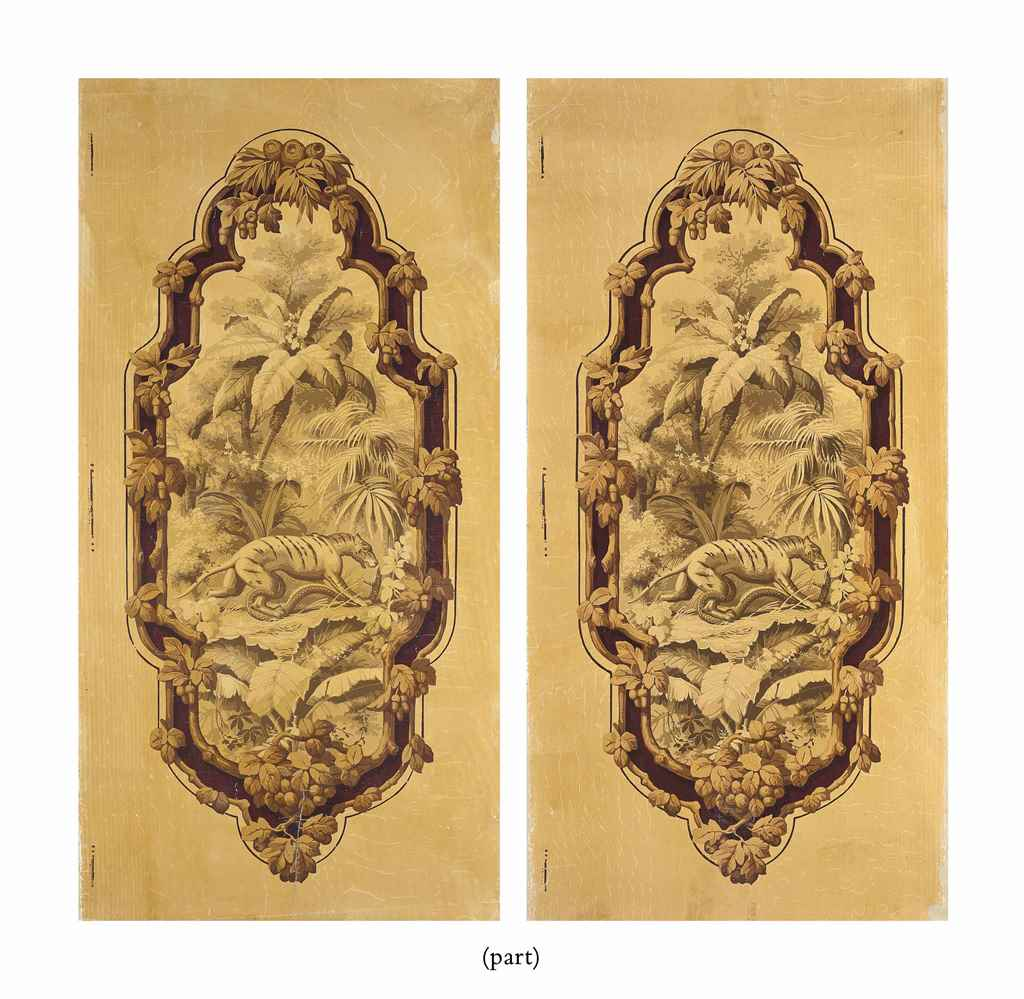 FOUR FRENCH WALLPAPER PANELS