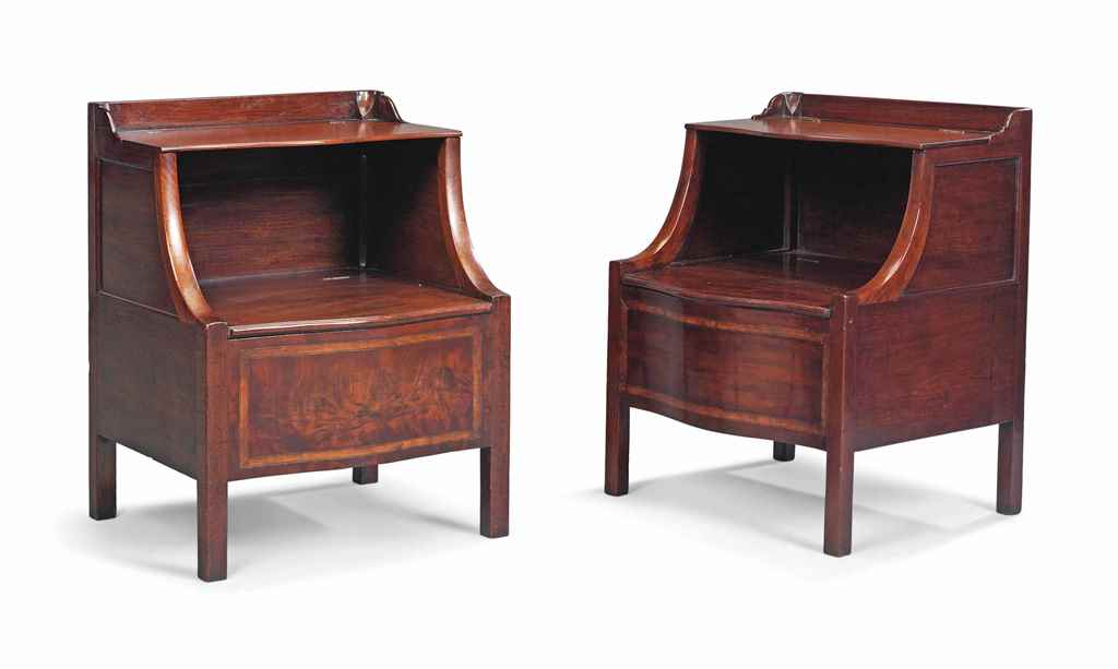 TWO SIMILAR MAHOGANY SERPENTIN
