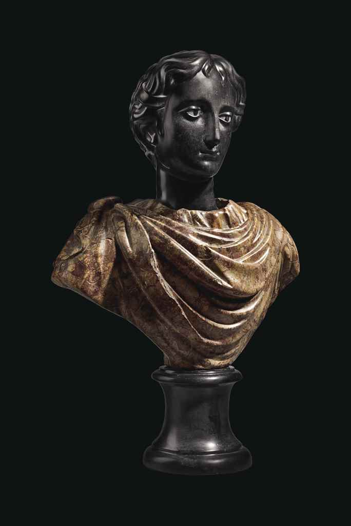 A BLACK AND BROCATELLE MARBLE