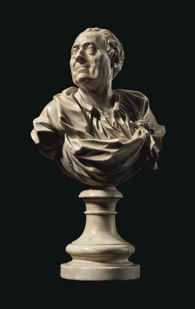 A CARVED PIERRE DE JURA BUST O