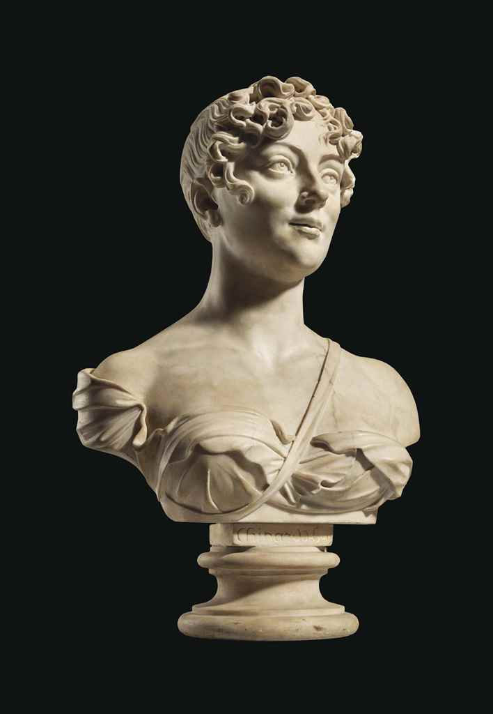 A MARBLE PORTRAIT OF A WOMAN