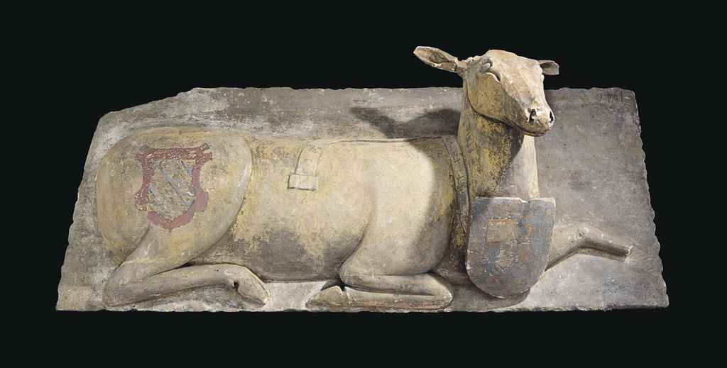 A POLYCHROME-DECORATED LIMESTO