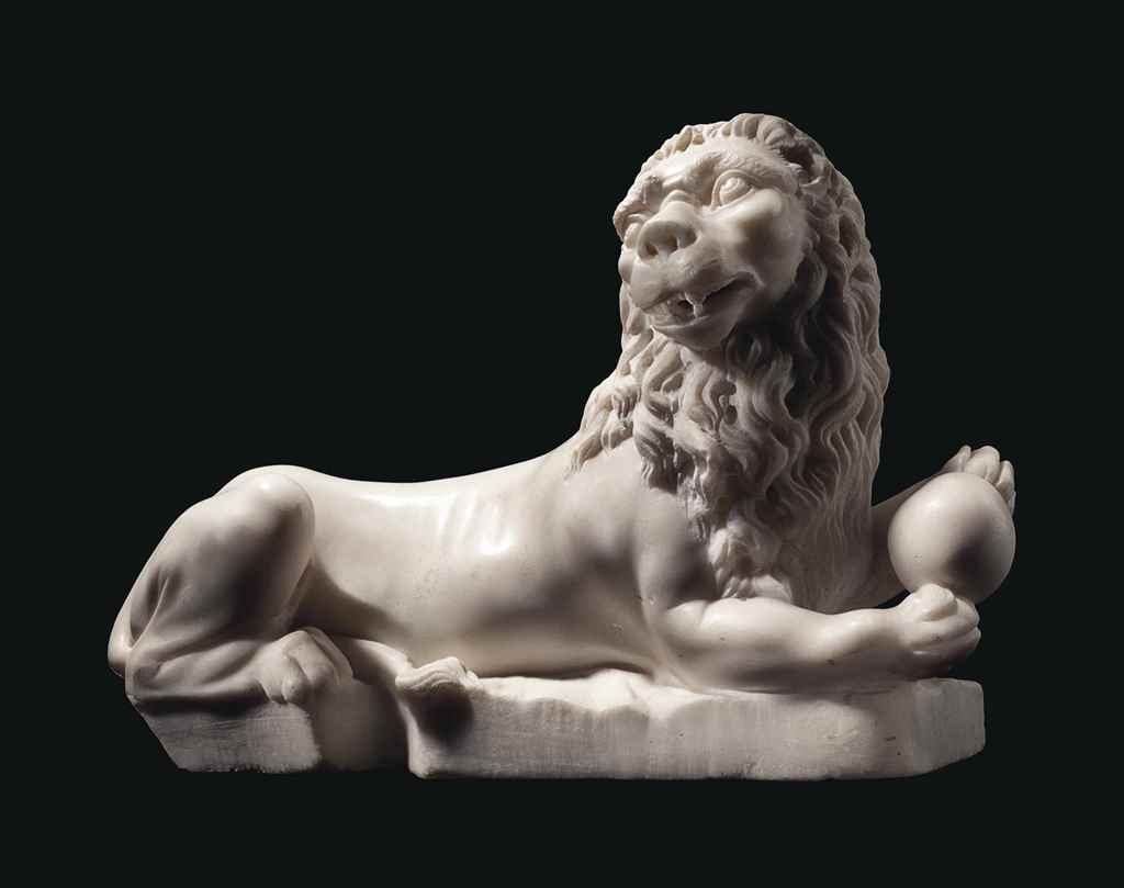 A WHITE MARBLE MODEL OF A RECU